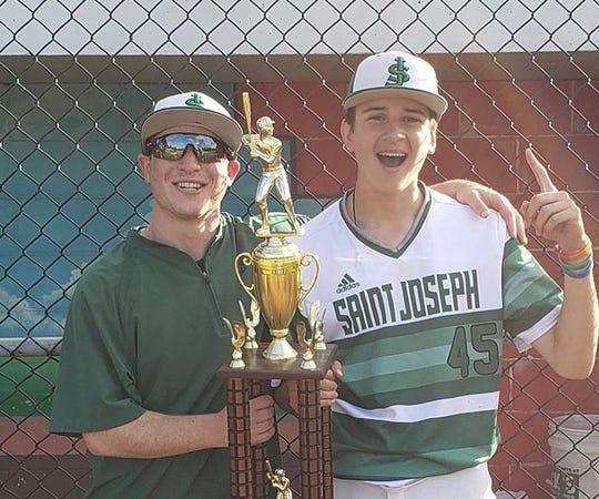 Jake Rosenberg, left, celebrates the St. Joseph High School baseball program's Greater Middlesex Conference junior varsity championship with player Michael Wojciechowski last season