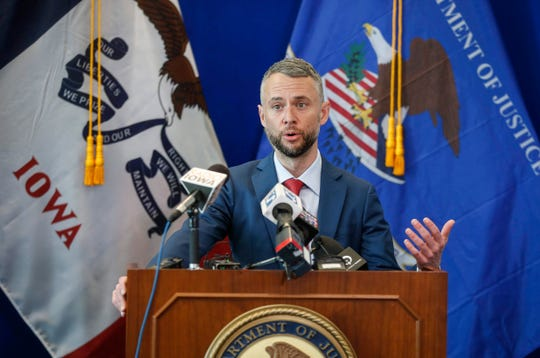 United States Attorney Marc Krickbaum speaks about the federal sentencing of Xzavier Clark, a member of the C-Block street gang, during a press conference at the U.S. Attorney's office in Des Moines on Friday, Feb. 14, 2020. Clark, who was arrested on a federal gun charge, was sentenced to the maximum of 10 years in prison on Thursday.