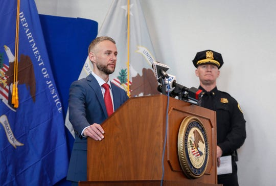 U.S. Attorney Marc Krickbaum and Des Moines Police Chief Dana Wingert spoke about the federal sentencing of Xzavier Clark, a member of the C-Block street gang, during a news conference at the U.S. Attorney's office in Des Moines on Friday, Feb. 14, 2020. Clark, who was arrested on a federal gun charge, was sentenced to the maximum of 10 years in prison on Thursday.