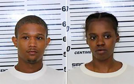This photo combo provided by Scott County (Iowa) Jail shows Tre Henderson, left, and Jacqueline Rambert.