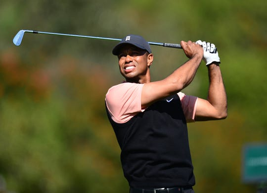 Tiger Woods hits from the fourth hole tee box during the first round of the The Genesis Invitational golf tournament at Riviera Country Club, Feb. 13, 2020 in Pacific Palisades, Calif.
