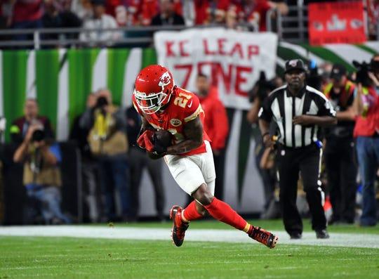 Chiefs' Bashaud Breeland makes an interception during the first quarter against the 49ers in Super Bowl LIV, Feb. 2, 2020 in Miami Gardens, Fla.