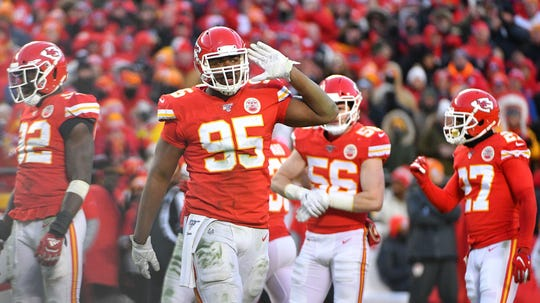 Chiefs' Chris Jones celebrates after a play vs. the Titans in the AFC championship game, Jan. 18, 2020.