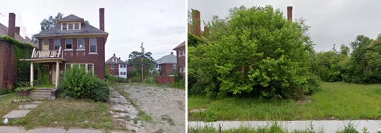 Left: Google Maps street view captured in 2009, courtesy Curbed Detroit. Right: Google Maps street view of the home from June 2019.