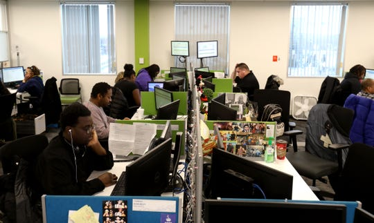 The support call center inside Stefanini at their Southfield offices on Thursday, February 3, 2020. The company developed Sophie, an artificial intelligence program that is being used by various companies.