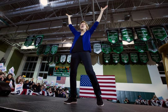 Democratic presidential candidate Sen. Elizabeth Warren, D-Mass., speaks to the crowd during a campaign rally at Wakefield High School, in Arlington, Va., Thursday, Feb. 13, 2020.