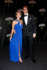 Brad Keselowski, right, and Paige Keselowski celebrated the birth of their second child, Autumn, in December.