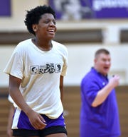 Khy Winston, the brother of Zachary Winston, laughs during an Albion practice this week.