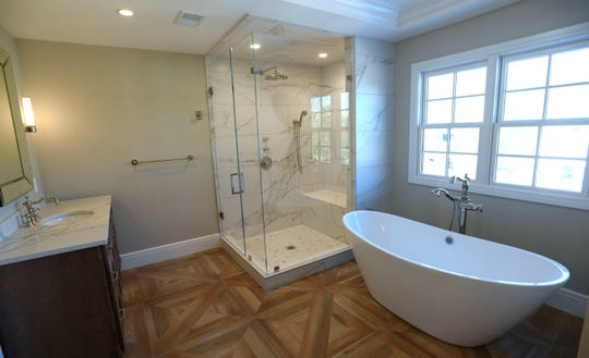 The master bathroom of the Birmingham Colonial home.