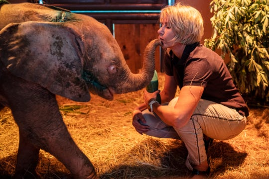 Adine Roode plays with Khanysia, a five-month-old albino elephant.