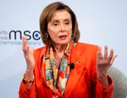 Nancy Pelosi, Speaker of the US House of Representatives, speaks on the first day of the 56th Munich Security Conference in Munich, Germany, Friday, Feb.14, 2020.