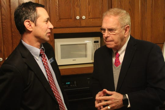Sandusky County Court Judge John Kolesar talks to former Ohio Gov. Ted Strickland Thursday at a campaign fundraiser for Ohio House District 88 Democratic candidate Chris Liebold. Kolesar, a Democrat, is running for Sandusky County Common Pleas Court Judge this year and is unopposed in the March Democratic primary.