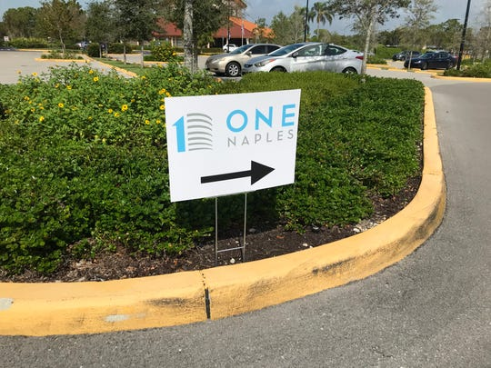 Stock Development is holding a series of voluntary community meetings about its proposed One Naples project in North Naples. This sign points the way to one of the first meetings held Feb. 14, 2020.