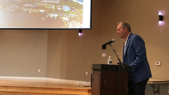 Developer Brian Stock talks about his proposed One Naples development in North Naples at a community meeting Feb. 14, 2020.