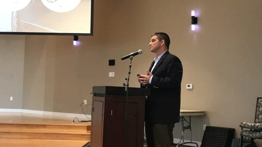 Keith Gelder, with Stock Development, discusses the One Naples project at a community meeting on Feb. 14, 2020.