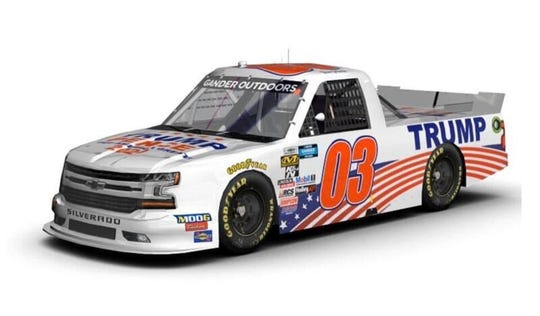 Tim Viens of Port Orange has landed the sponsorship of a pro-President Trump PAC that's paying to put Trump 2020 on the No. 03 Chevy Silverado in the NextEra Energy 250 Friday.