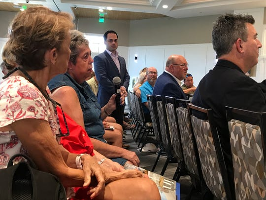 Elizabeth Pircio, a resident of Barefoot Pelican, talks about her concerns with the One Naples project in North Naples, at a community meeting on Feb. 14, 2020.