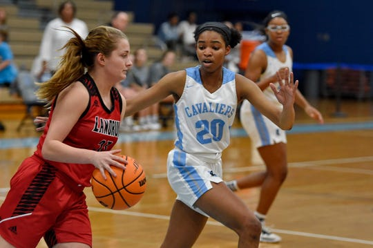 Christ Church's senior Marissa Powe (20) defends against Landrum in varsity basketball Thursday, Feb. 13, 2020.