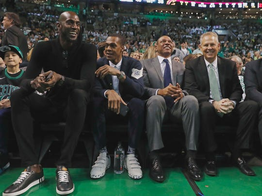 Feb 11, 2018; Boston, MA, USA; Former Boston Celtics (left to right) Kevin Garnett, Rajon Rondo, coach Doc Rivers and current general manager Danny Ainge look on during the second quarter of the game between the Boston Celtics and the Cleveland Cavaliers at TD Garden.