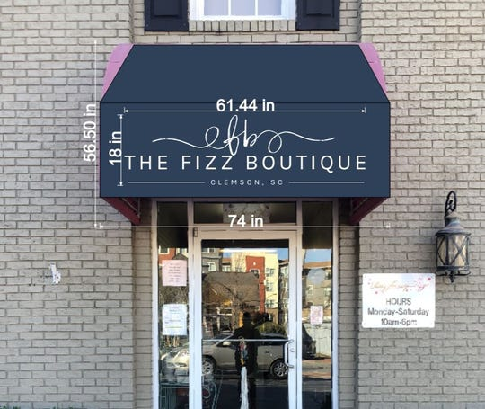 The proposed new sign design at Fizz Boutique, formerly known as Razzberry Fizz.