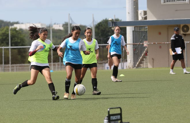 Players engage in an activity during a Guam Elite Youth Selection team tryout session on Feb. 9 at the Guam Football Association National Training Center in this file photo. Coaches will be holding a second day of tryout sessions Sunday.