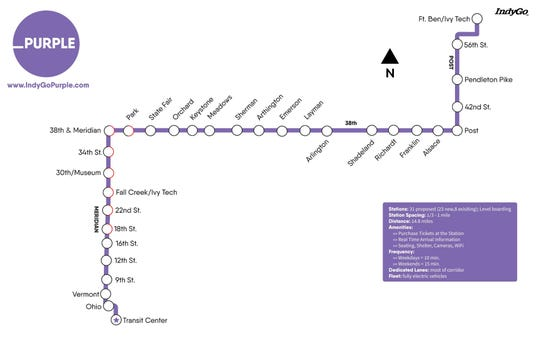The Purple Line is a future 14.8-mile bus rapid transit route serving Indianapolis and Lawrence.