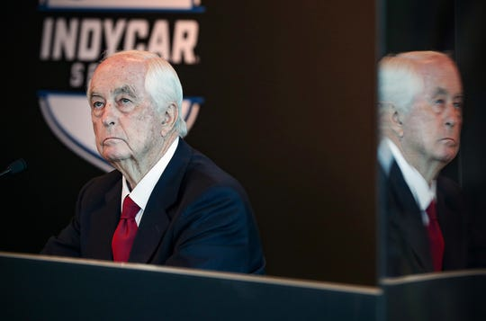 Roger Penske, owner of Indianapolis Motor Speedway, listens during a press conference with Mark Miles and Doug Boles at the track on Friday, Feb. 14, 2020. With 100 days until the 104th running of the Indianapolis 500, Penske announced the Indianapolis 500 total purse will increase by $2 million to $15 million, the highest in the event's history. The winner will be guaranteed at least $2 million, with additional money for winning the pole and leading laps.