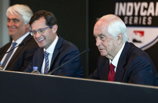 Right, Roger Penske, owner of Indianapolis Motor Speedway, speaks during a press conference with Mark Miles and Doug Boles at the track on Friday, Feb. 14, 2020. With 100 days until the 104th running of the Indianapolis 500, Penske announced the Indianapolis 500 total purse will increase by $2 million to $15 million, the highest in the event's history. The winner will be guaranteed at least $2 million, with additional money for winning the pole and leading laps.