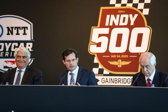 With 100 days until the 104th running of the Indianapolis 500, Mark Miles (from left), Doug Boles and Roger Penske speak at a press conference Friday announcing improvements at Indianapolis Motor Speedway.
