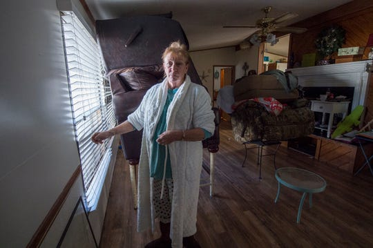 Donna Harvey and her husband have everything ready for the pending floodwaters that have already begun to surround their home in Harbor Pines Mobile Home Community in Ridgeland Friday, Feb. 14, 2020. On Thursday, Mayor Gene Magee ordered a mandatory evacuation for Harvey's neighborhood, due to the rising waters of the Pearl River and the expected crest of 38 feet on Sunday. Harvey's neighborhood, be under a