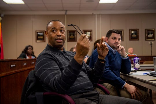 Superintendent Ray Washington discusses the plans for the JCM school during a special school board meeting at Jackson-Madison County Board of Education in Jackson, Tenn., Monday, Feb. 10, 2020.