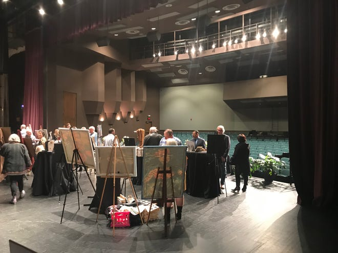 Local artists put their work on display on the stage at The Ned during Jackson Arts Council's The Arts Backstage fundraiser on Feb. 13, 2020.