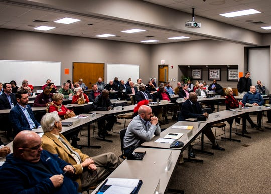 County commissioners meet at the Jackson-Madison Health Department on Friday, Feb. 14, 2020.