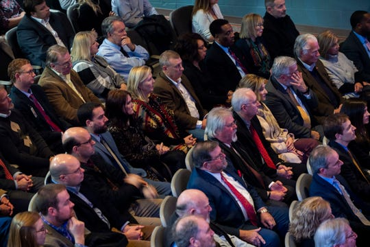 Legislators and people of Jackson sit in to listen to Gov. Bill Lee's State of West Tennessee speech at Chamber-McClure Academic, Thursday, Feb. 13, 2020.