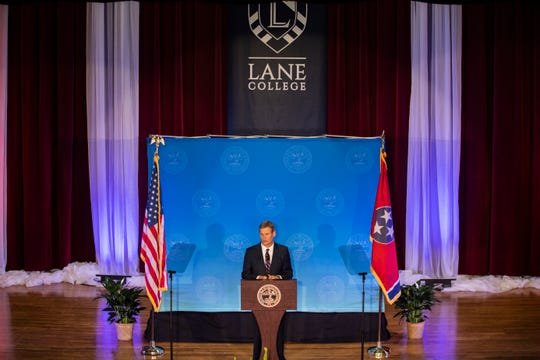 Gov. Bill Lee visited Jackson at Lane College for the State of West Tennessee speech at Chamber-McClure Academic, Thursday, Feb. 13, 2020.