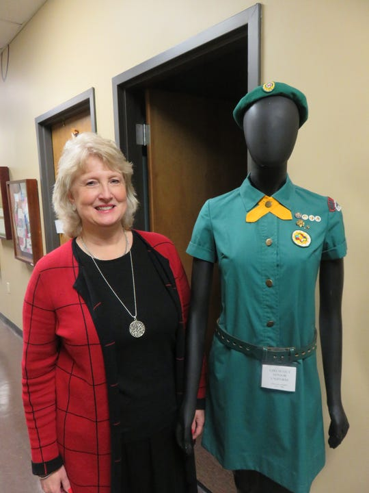 Local Girl Scout Council CEO Lynne Fugate, shown next to a Girl Scout mannequin model at the offices on Feb. 12, 2020, recently began serving as  an at-large member of the Knoxville City Council.