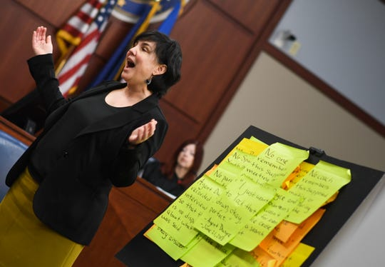 Attorney Mary Chartier addresses the jury as she argues the case for her client, former Michigan State University gymnastics coach Kathie Klages, during closing arguments Friday, Feb. 14, 2020.