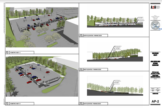 These sketches show the plans for a new parking deck around the former Baptist rehabilitation hospital on Exeter Road and some of the landscaping that will surround the structure.