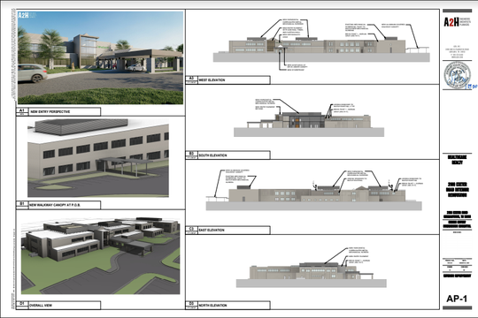 These renderings show exterior plans for renovations to the former Baptist rehabilitation hospital in Germantown.