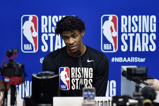 Memphis Grizzlies' Ja Morant addresses the media prior to practice for the NBA All Star-Rising Stars Game in Chicago on Feb. 14, 2020.