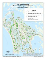A 2017 map showing major drain basins in Marco Island says 1,324 stormwater inlets have filters while 540 do not have filters.
