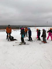 Kids learn to ski at The Rock during an event with the Ebony Ice Ski Club on Feb. 1, 2020.