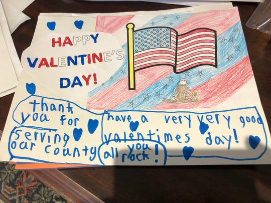 Students from different area school districts made Valentine's Day cards for soldiers stationed overseas.