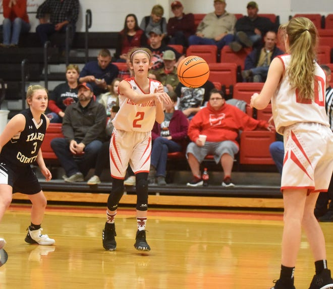 Norfork's Keely Blanchard passes to teammate Liza Shaddy during a game earlier this season against Izard County. Norfork and Izard County will meet for the 1A-2 Junior District title on Saturday.