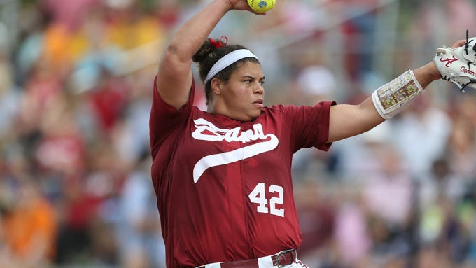 Alabama's Krystal Goodman pitches during an NCAA softball game against Liberty on Thursday, Feb 13, 2020, in Clearwater, Fla. Alabama won 7-1. (AP Photo/Vera Nieuwenhuis)