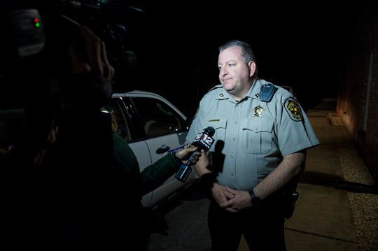 Capt. George Beaudry talks with media as emergency crews investigate a possible plane crash near the intersection of Pike and Meriwether Roads in Pike Road, Ala., on Thursday, Feb. 13, 2020.