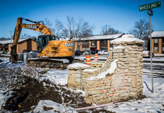 Deconstruction of the Wheeling monuments along Wheeling Avenue continues on Feb. 14, 2020.