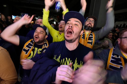 Nashville SC fan Justin Smith cheers before a panel discussion with MLS Commissioner Don Garber, Nashville SC Owner John Ingram and CEO Ian Ayre about Nashville SC's inaugural season at Nashville Underground Thursday, Feb. 13, 2020 in Nashville, Tenn.