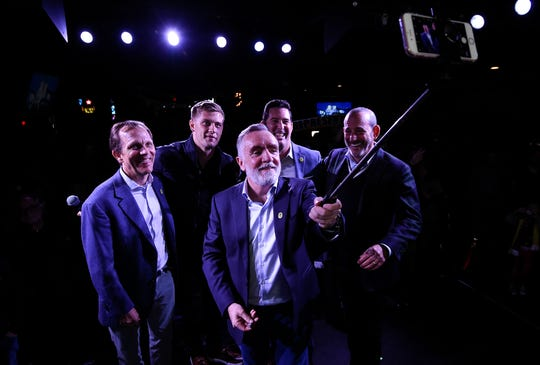 Nashville SC Chief Executive Officer Ian Ayre takes a selfie with, from left, owner John Ingram, defender Walker Zimmerman, general manager Mike Jacobs and MLS Commissioner Don Garber during a panel discussion about Nashville SC's inaugural season Thursday, Feb. 13, 2020, at Nashville Underground.