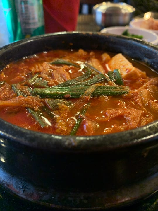 A kimchi-strewn stew from Seoul Korean Restaurant in Naples.